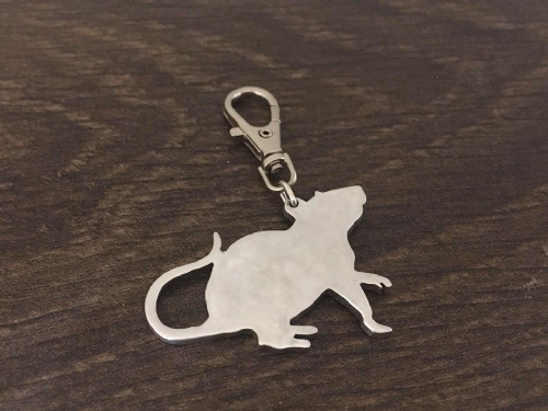 Rat  keyring 4.5cm handmade by saw piercing
